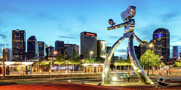 Photograph - Dallas Skyline And Walking Tall Traveling Man Panorama At Dusk by Gregory Ballos