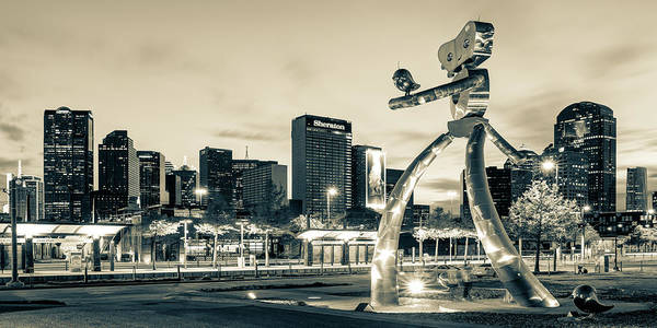 Photograph - Dallas Skyline And Walking Tall Traveling Man Panorama - Sepia Edition by Gregory Ballos