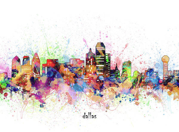 Wall Art - Digital Art - Dallas Skyline Artistic by Bekim M