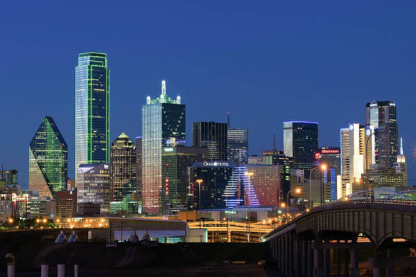 Photograph - Dallas Skyline Blue 032219 by Rospotte Photography