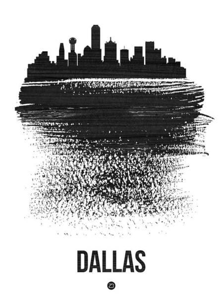 Country Mixed Media - Dallas Skyline Brush Stroke Black by Naxart Studio