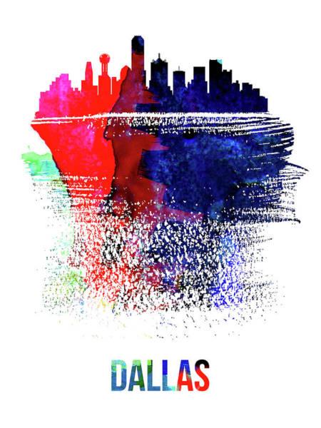 Country Mixed Media - Dallas Skyline Brush Stroke Watercolor   by Naxart Studio