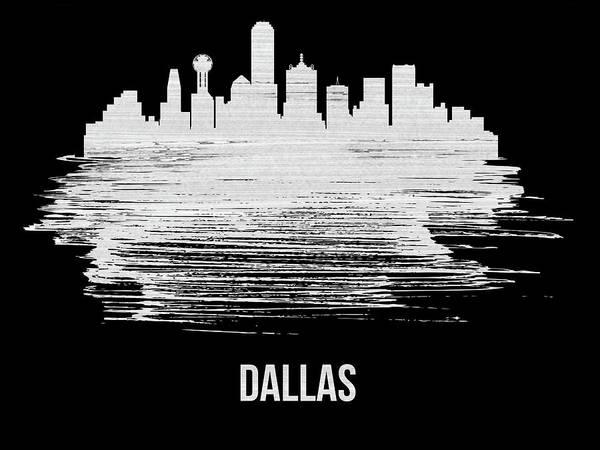 Country Mixed Media - Dallas Skyline Brush Stroke White by Naxart Studio