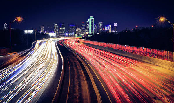 Photograph - Dallas Skyline Highway Lights by Dan Sproul