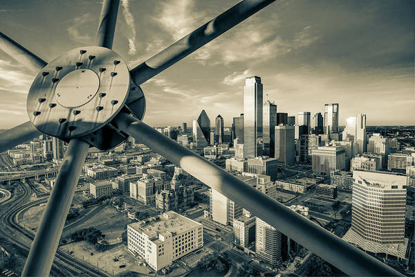 Photograph - Dallas Skyline In Sepia From Reunion Tower by Gregory Ballos