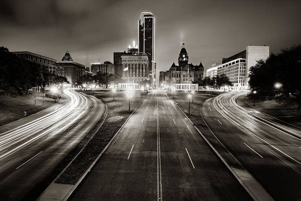 Photograph - Dallas Skyline Over Dealey Plaza - Sepia Edition by Gregory Ballos