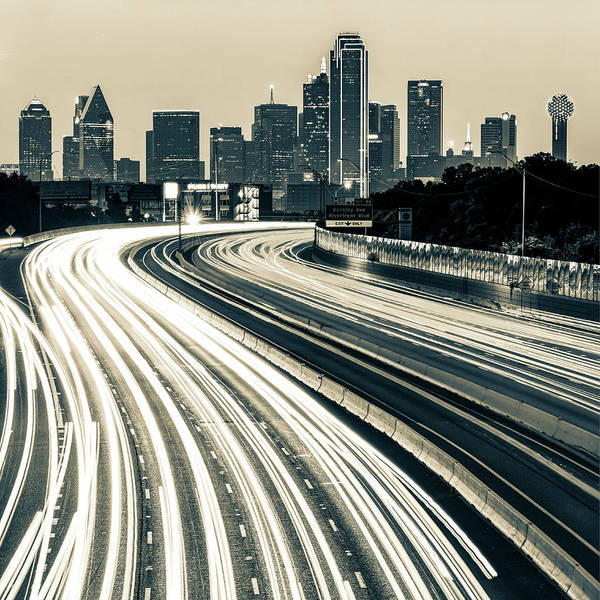 Photograph - Dallas Skyline Over Light Trails - Sepia Edition 1x1 by Gregory Ballos