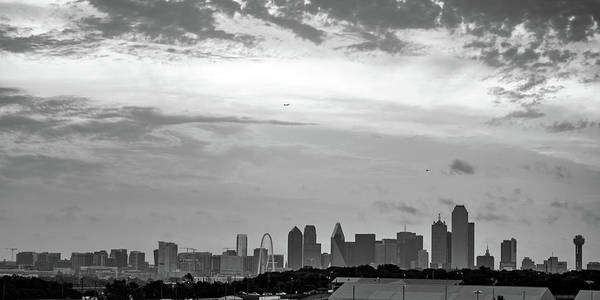 Photograph - Dallas Skyline Panoramic Monochrome by Gregory Ballos