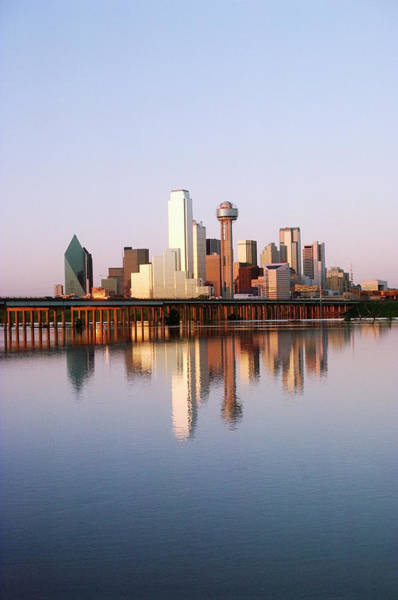 Trinity Photograph - Dallas Skyline Reflected In Water by Dreampictures