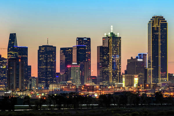 Photograph - Dallas Skyline Skyscrapers At Dawn by Gregory Ballos