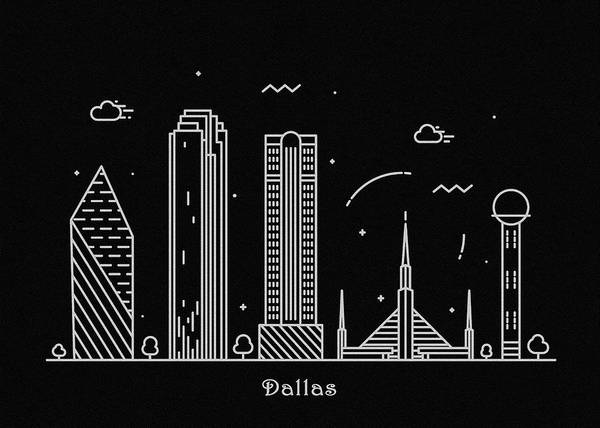 Monument Drawing - Dallas Skyline Travel Poster by Inspirowl Design