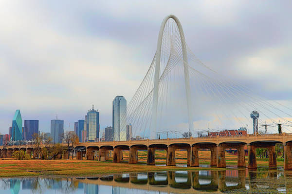 Photograph - Dallas Skyline With The Margaret Hunt Hill Bridge - Texas - Cityscape by Jason Politte