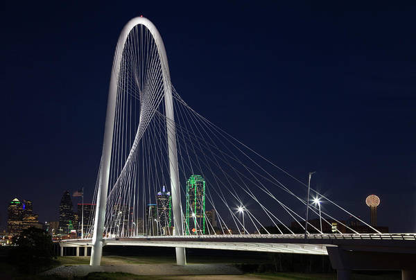 Night Photograph - Dallas' Suspension Bridge At Night by Dhughes9
