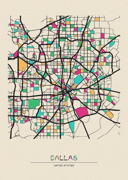 Wall Art - Drawing - Dallas, Texas City Map by Inspirowl Design