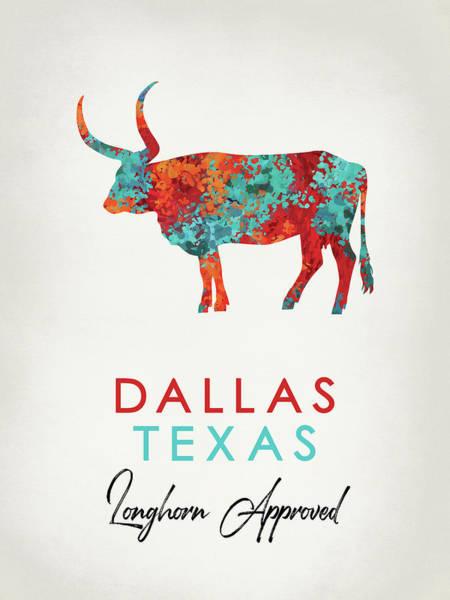 Longhorn Digital Art - Dallas Texas Colorful Longhorn by Flo Karp