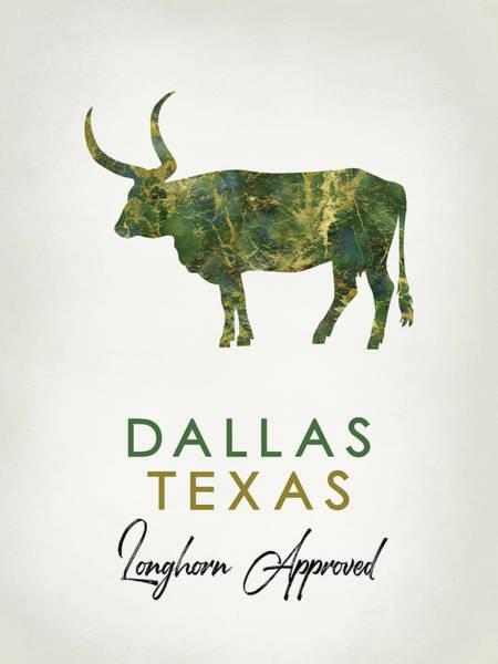 Longhorn Digital Art - Dallas Texas Dark Marble by Flo Karp