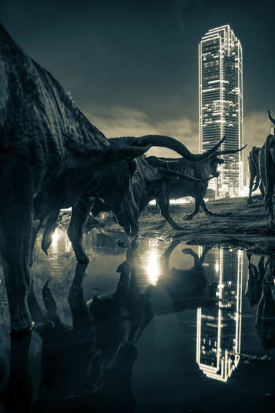 Photograph - Dallas Texas Longhorn Cattle Drive Sculptures And Skyline Reflections - Sepia by Gregory Ballos