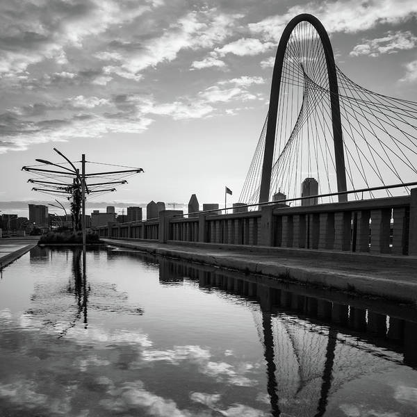 Photograph - Dallas Texas Skyline And Margaret Hunt Bridge - 1x1 Black And White by Gregory Ballos