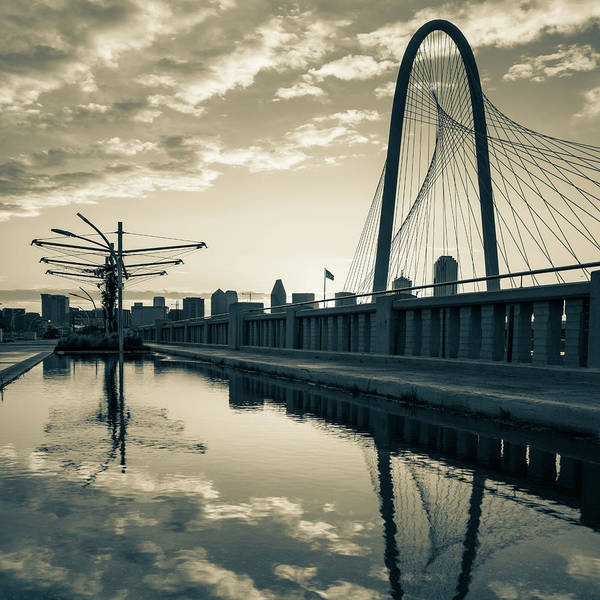 Photograph - Dallas Texas Skyline And Margaret Hunt Bridge - 1x1 Sepia by Gregory Ballos