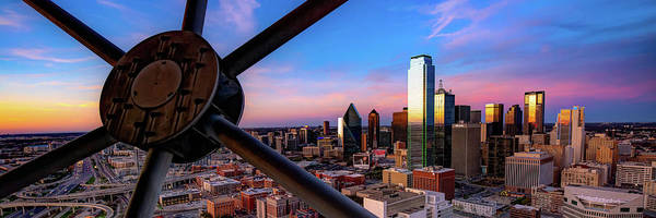 Photograph - Dallas Texas Skyline Colorful Panoramic From Reunion Tower by Gregory Ballos