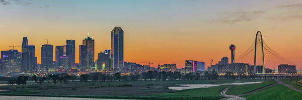 Photograph - Dallas Texas Skyline Early Morning Panoramic Cityscape by Gregory Ballos