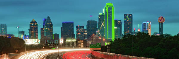 Photograph - Dallas Texas Skyline Evening Panorama by Gregory Ballos