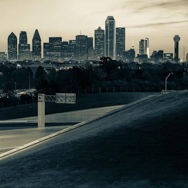 Photograph - Dallas Texas Skyline Monochrome Architecture - Square Sepia Edition by Gregory Ballos
