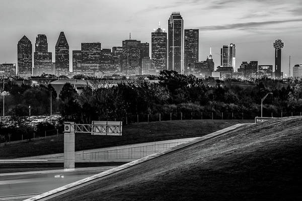 Photograph - Dallas Texas Skyline Morning View - Monochrome by Gregory Ballos