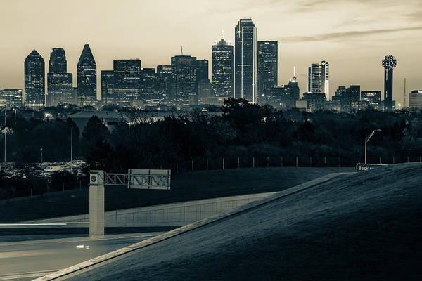 Photograph - Dallas Texas Skyline Morning View - Sepia by Gregory Ballos