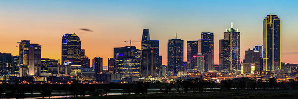 Photograph - Dallas Texas Skyline Panorama At Dawn by Gregory Ballos