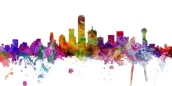Dallas Digital Art - Dallas Texas Skyline Panoramic by Michael Tompsett