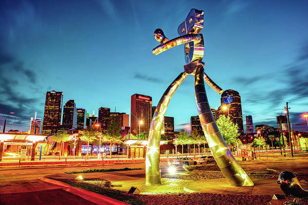 Photograph - Dallas Traveling Man - Gold Light by Gregory Ballos