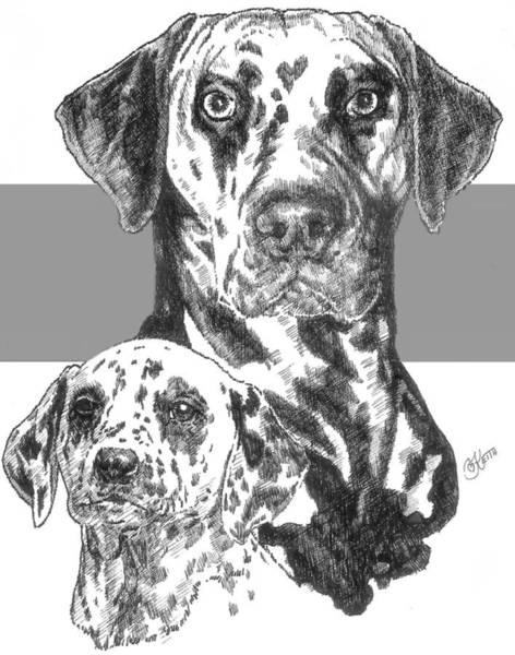Drawing - Dalmatian And Pup by Barbara Keith