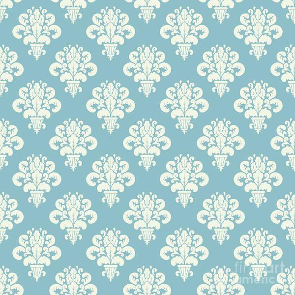 Digital Art - Damask Powder Blue Floral by Sharon Mau