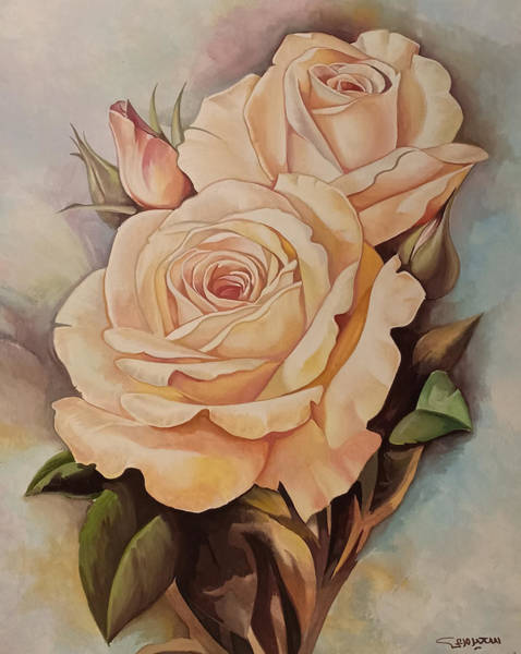 Painting - Damask Roses by Said Marie