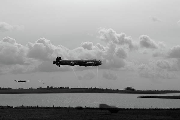 Photograph - Dambusters Lancasters At Abberton Bw Version by Gary Eason