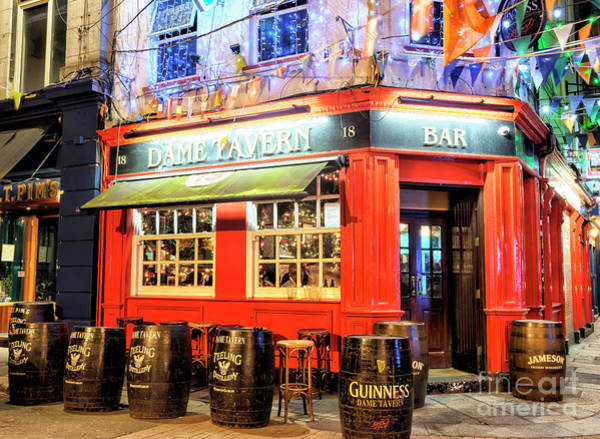 Wall Art - Photograph - Dame Tavern At Night In Dublin by John Rizzuto