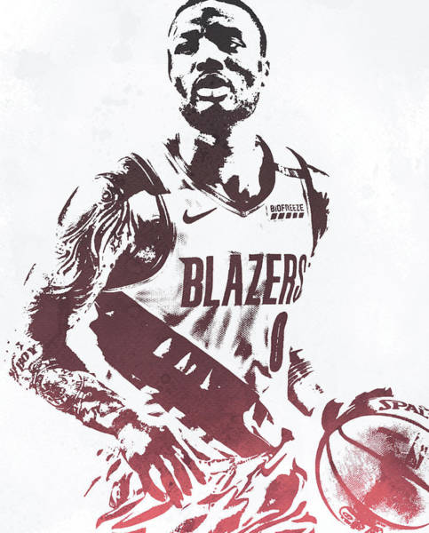 Wall Art - Mixed Media - Damian Lillard Portland Trailblazers Water Color Pixel Art 30 by Joe Hamilton