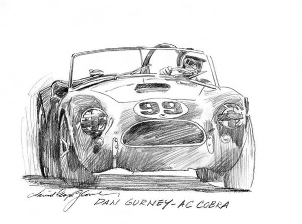 Drawing - Dan Gurney Ac Cobra No. 99 by David Lloyd Glover