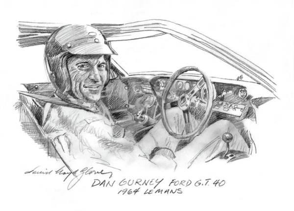 Drawing - Dan Gurney Ford G.t. 40 by David Lloyd Glover