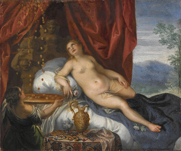 Wall Art - Painting - Danae And The Shower Of Gold by Manner of Hans Rottenhammer