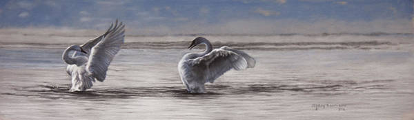 Wall Art - Painting - Dance Of The Swans by Lesley Harrison