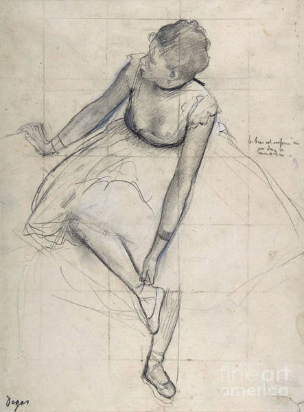 Wall Art - Drawing - Dancer Adjusting Her Shoe By Degas by Edgar Degas
