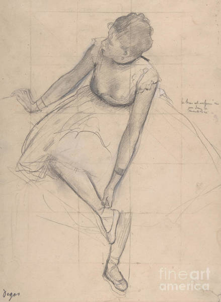 Wall Art - Drawing - Dancer Adjusting Her Slipper, 1873 by Edgar Degas