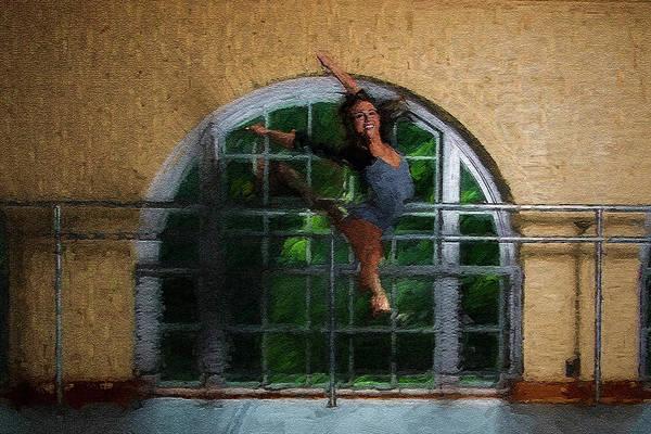 Photograph - Dancer Enjoying Flying High Textured by Dan Friend