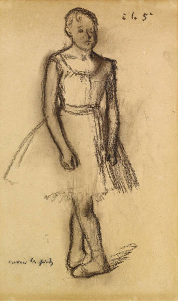 Wall Art - Drawing - Dancer In Fifth Position by Edgar Degas