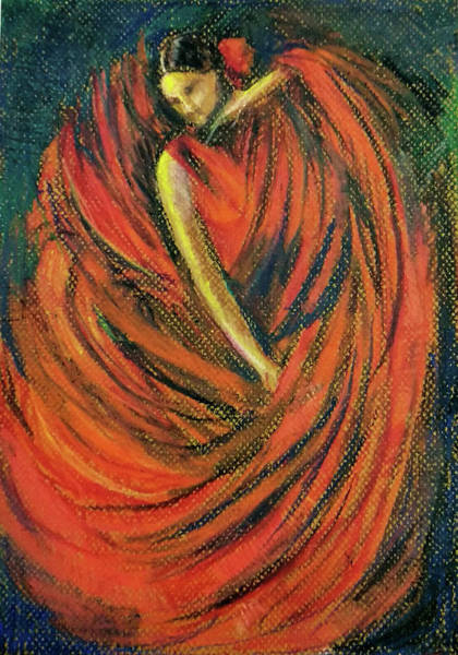 Wall Art - Pastel - Dancer In Red by Asha Sudhaker Shenoy