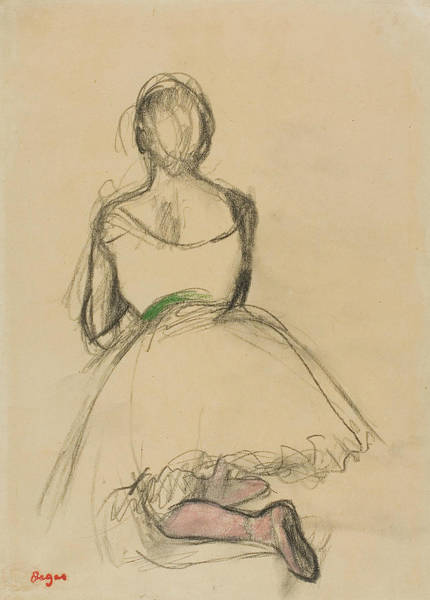 Wall Art - Drawing - Dancer Kneeling, Seen From The Back by Edgar Degas
