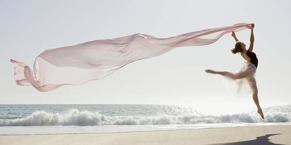 Freedom Photograph - Dancer Leaping On Beach by Tetra Images - Pt Images
