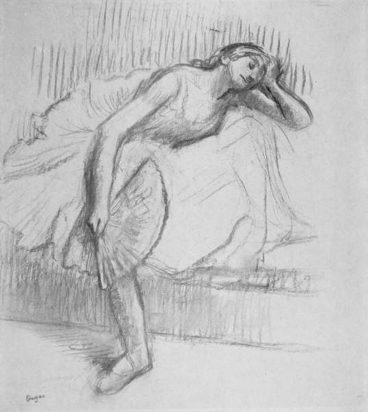 Drawing - Dancer Resting With A Fan by Edgar Degas